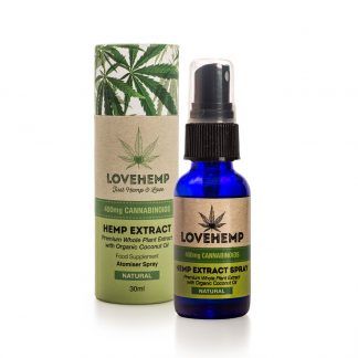 Love Hemp CBD Hemp Oil Spray - 400mg (30ml) Natural - Peppermint - Orange - Lemon