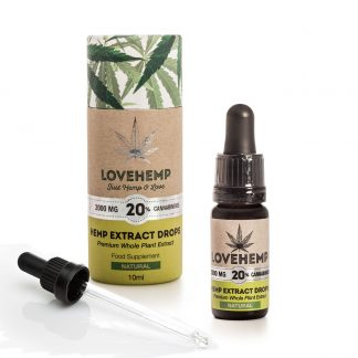 Love Hemp CBD Hemp Oil - 2000mg 20% CBD (10ml) Natural or Peppermint