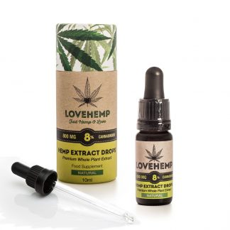 Love Hemp CBD Hemp Oil - 800mg 8% CBD (10ml) Natural or Peppermint